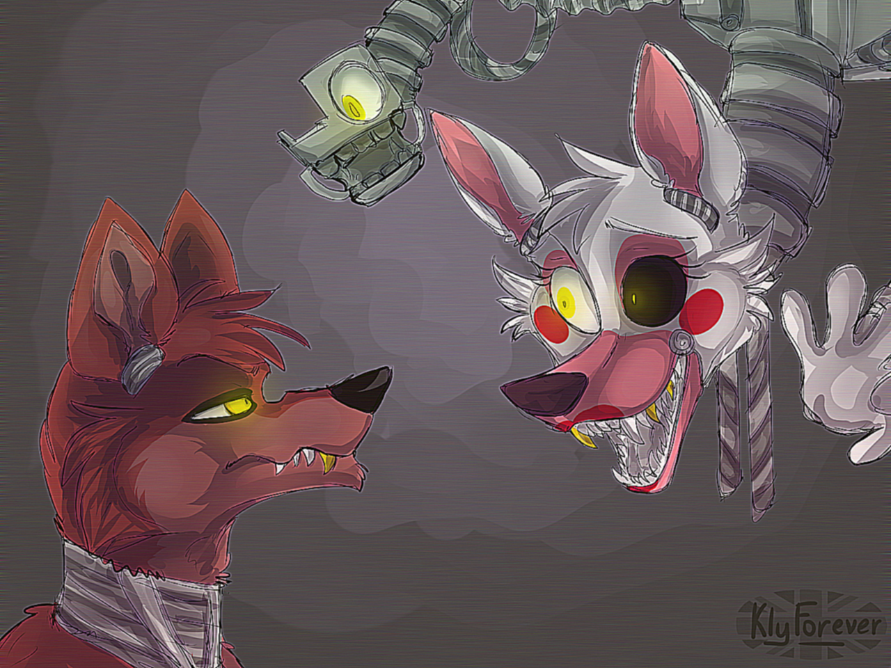 Foxy and Mangle by KlyForever on DeviantArt.